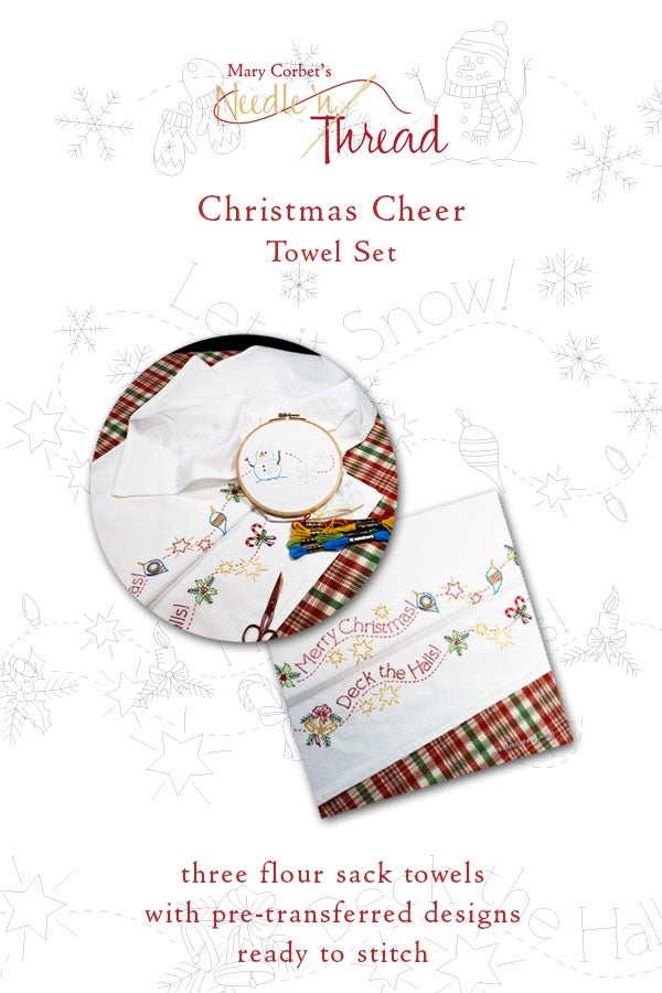 Image of Christmas Cheer Ready-to-Stitch Towel Set