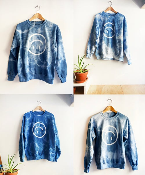 Image of Upside Down Happy Face / Indigo Dyed Sweatshirt