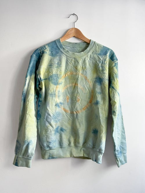 Image of Upside Down Happy Face Sweatshirt / Hand Dyed Multi Colored