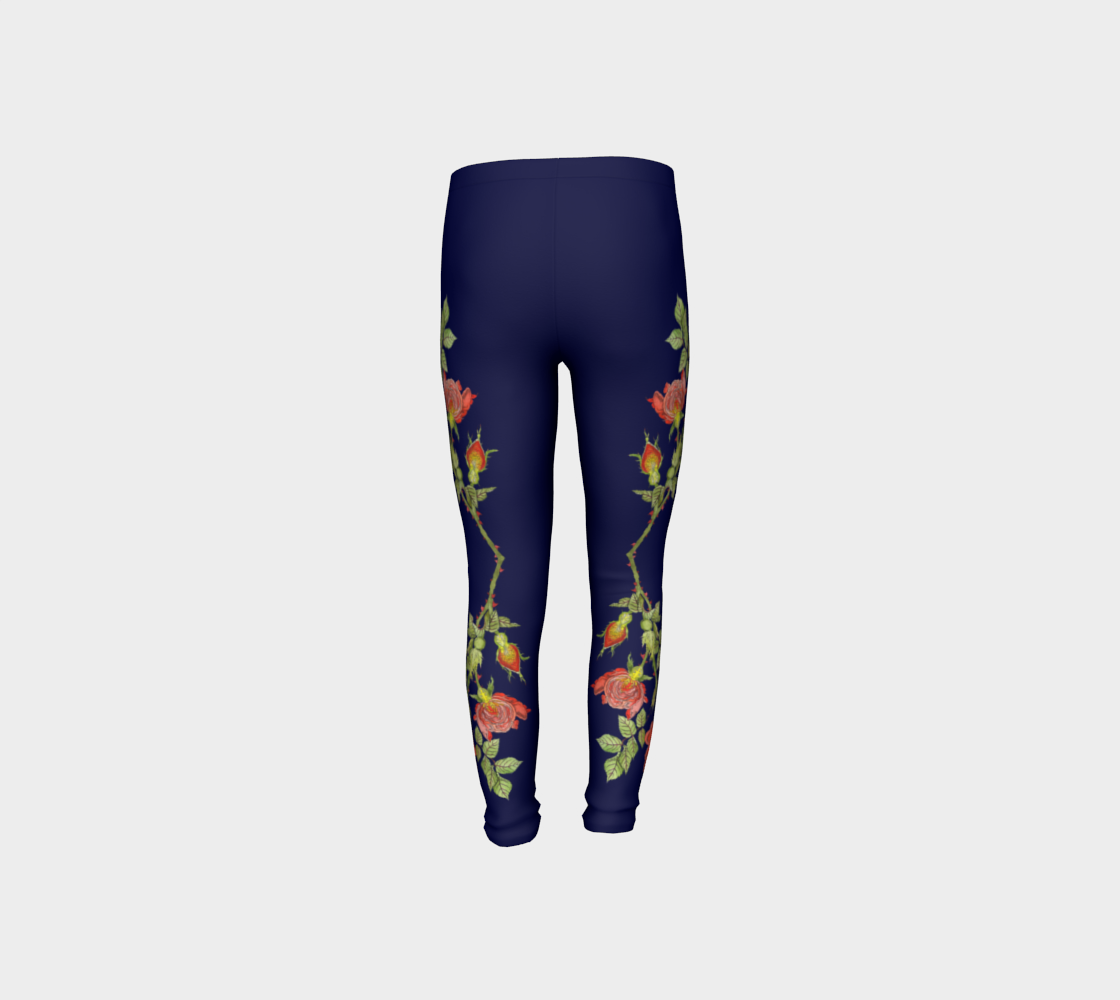 Image of Youth Leggings in Rose Life Cycle Print