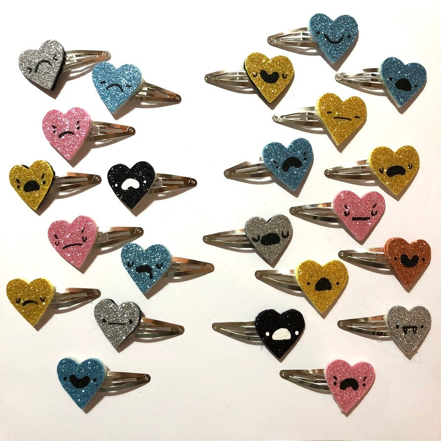 Image of SB/CM SPECIAL: glitter heart hairclips!