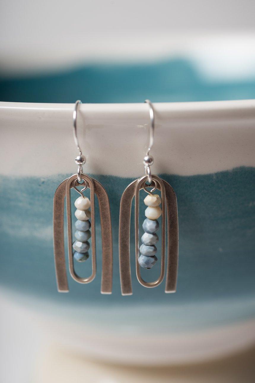 Image of Owyhee Opal Framed Earrings (White to Blue)
