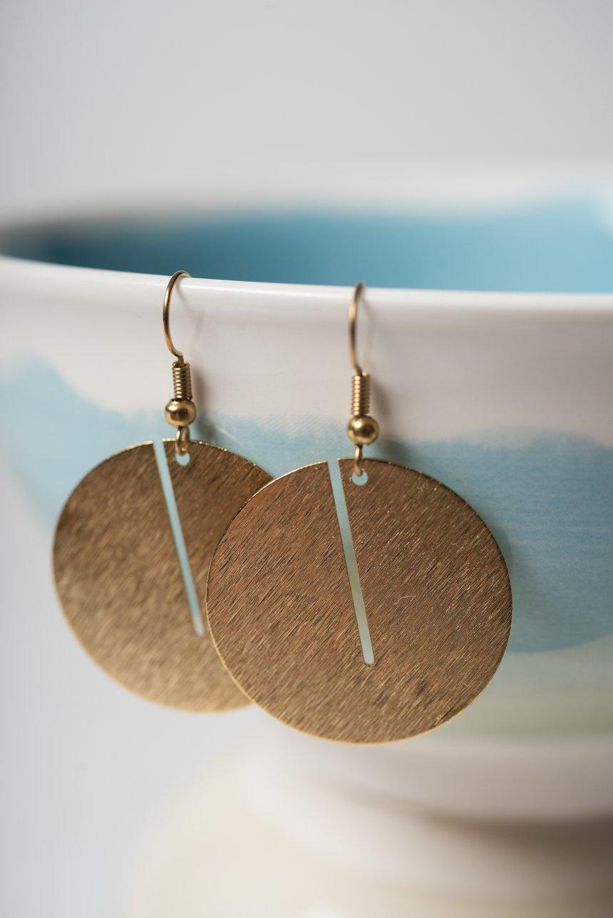 Image of Brass Sliced Circle Earrings