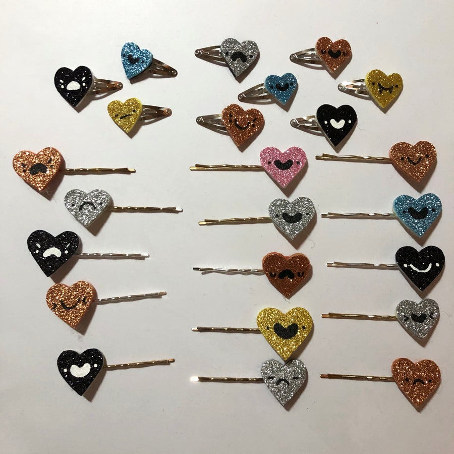 Image of SB/CM SPECIAL: glitter heart mini clips + hairpins!