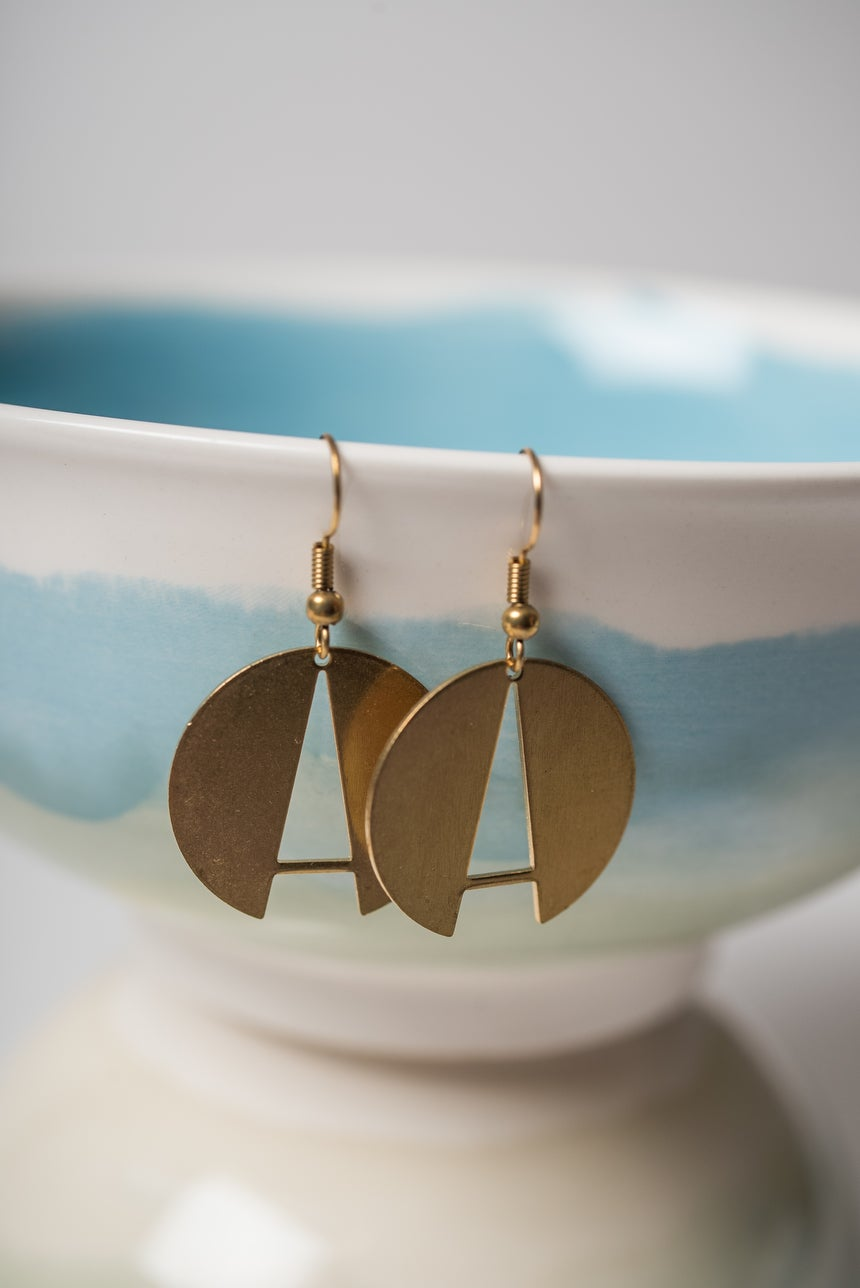 Image of Brass Circle A Earrings