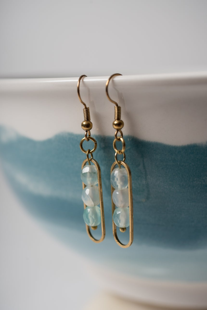 Image of Brass and Seafoam Green Banded Agate Earrings Pair 1