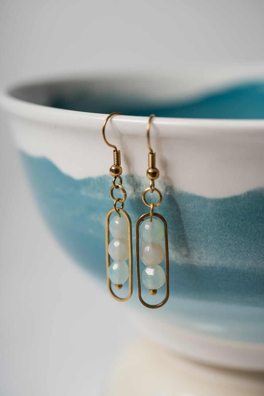 Image of Brass and Seafoam Green Banded Agate Earrings Pair 2