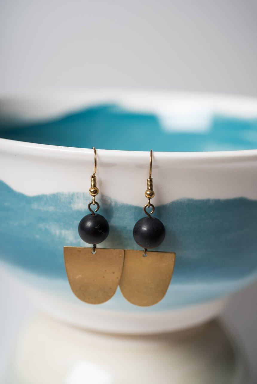 Image of Onyx and Brass Half Moon Earrings