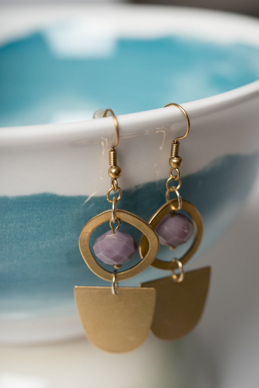Image of Purple and Brass Half Moon Earrings