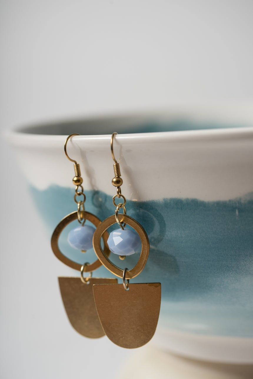 Image of Lilac and Brass Half Moon Earrings