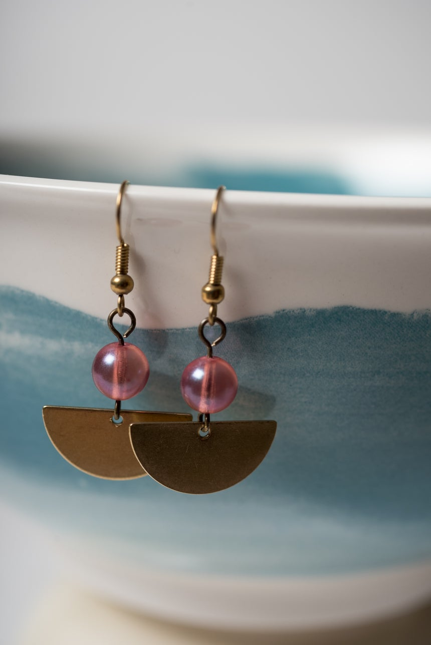 Image of Party Pink and Petite Moon Earrings