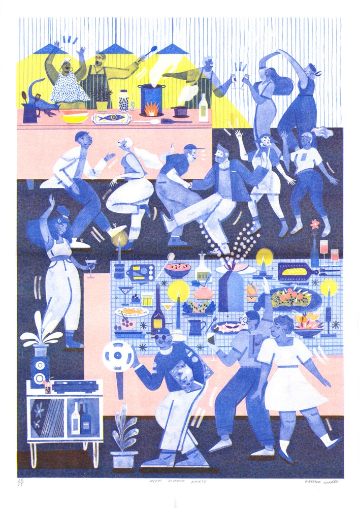 Image of *Limited soft neon * Dinner Party riso print