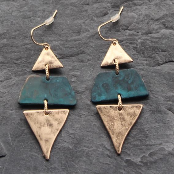 Image of Pendiente 3 piezas geométricas