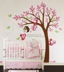 Swaying Tree Bird House with Squirrel Friends - 095 - Vinyl Sticker Wall Decal for Girl Boy