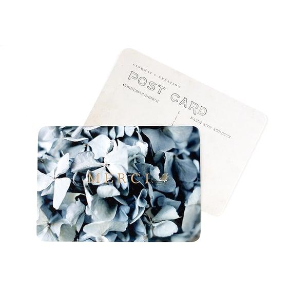 Image of Carte Postale MERCI / DORÉ / HORTENSIA BLEU