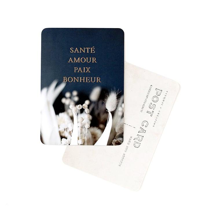 Image of Carte Postale SANTÉ AMOUR PAIX BONHEUR / DORÉ / BRINDILLE BLEU