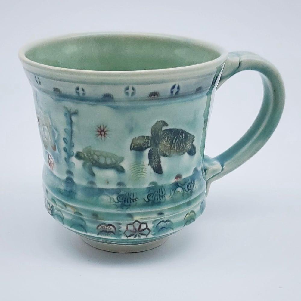 Image of Seaturtle and Frog Aquatic Porcelain Mug