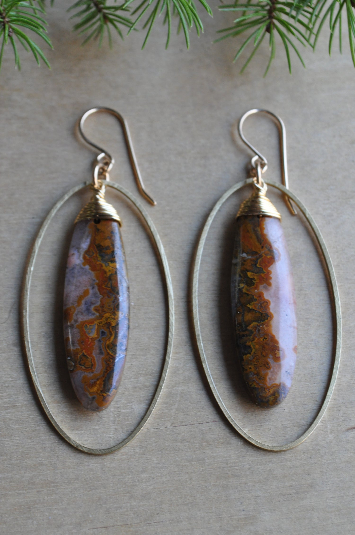 Image of One of a Kind Red Agate Oval Hoop Dangles