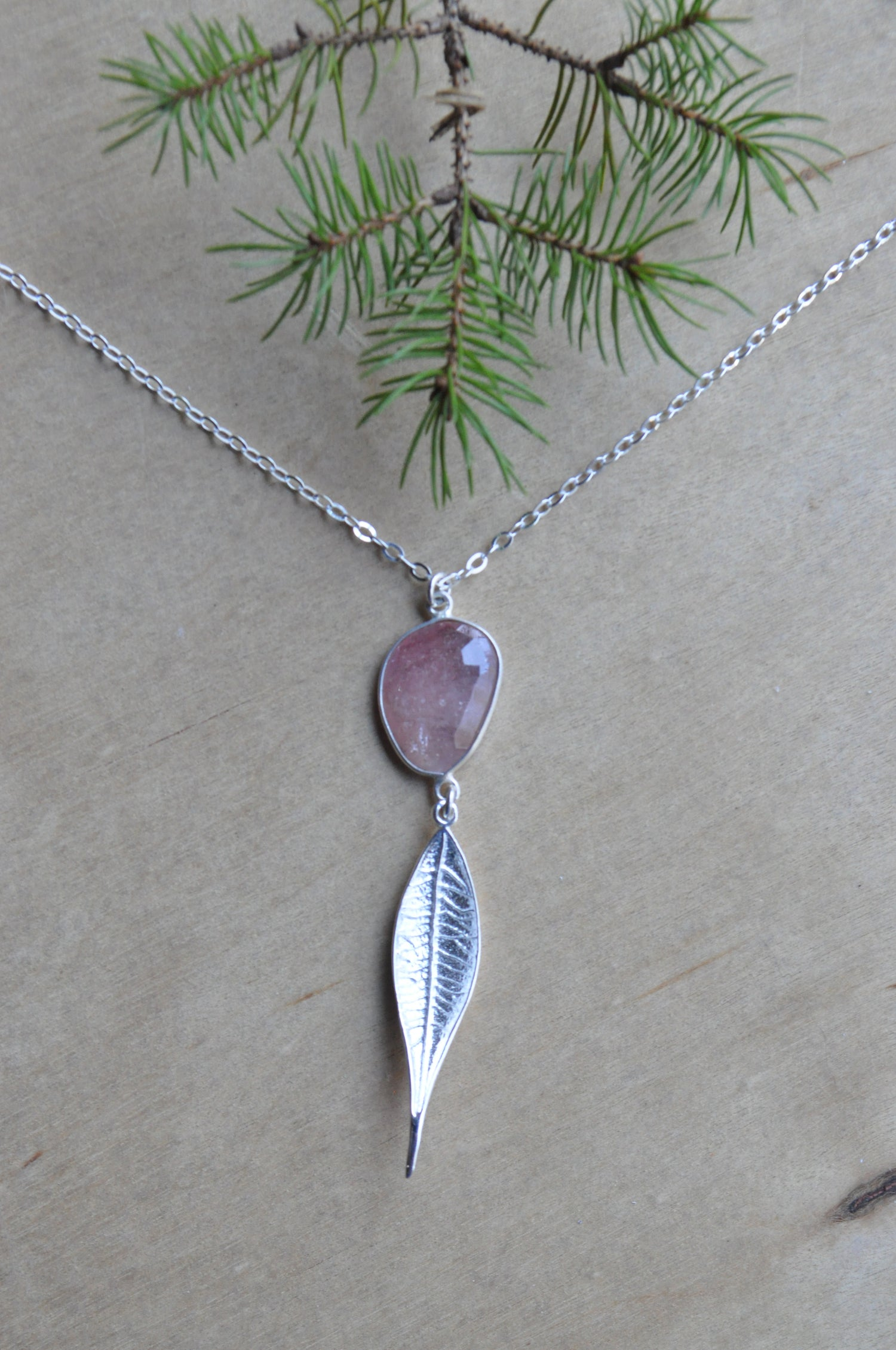 Image of Pink Sapphire Leaf Necklace - in Sterling Silver