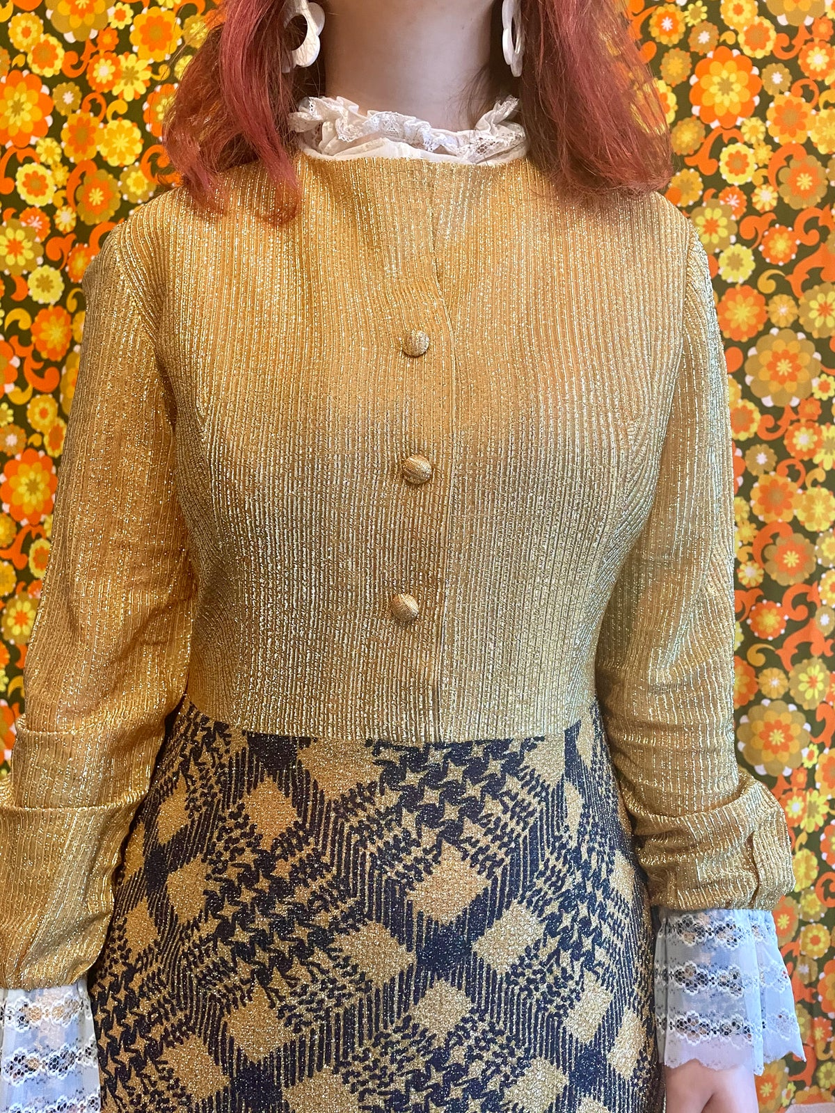 Image of Vintage 70s Gold Sparkly Lace Check Maxi Party Dress