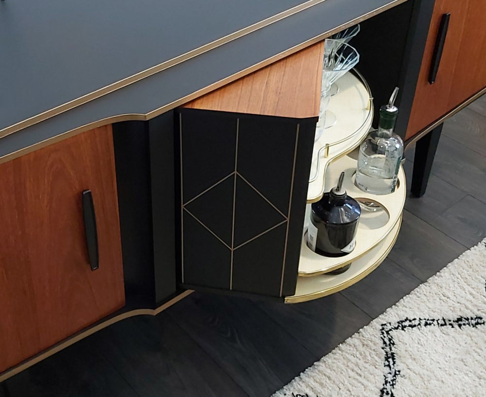 Image of BEAUTILITY CREDENZA WITH ROTATING COCKTAIL BAR
