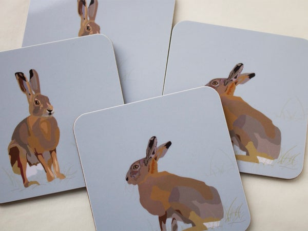 Image of Set of Four Hare Coasters (two poses-two of each)