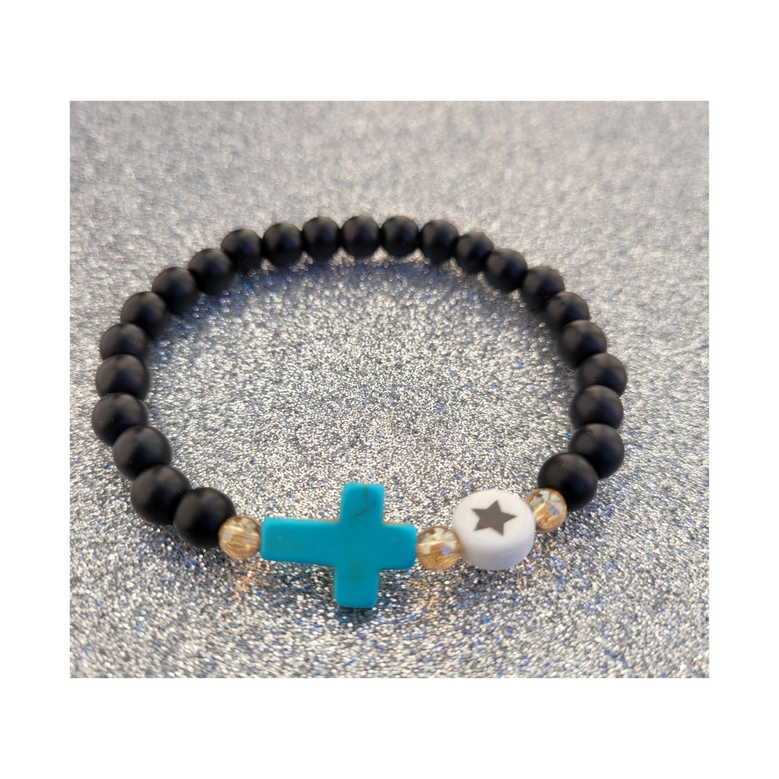 Image of Matte Onyx Cross 🌟 bracelet
