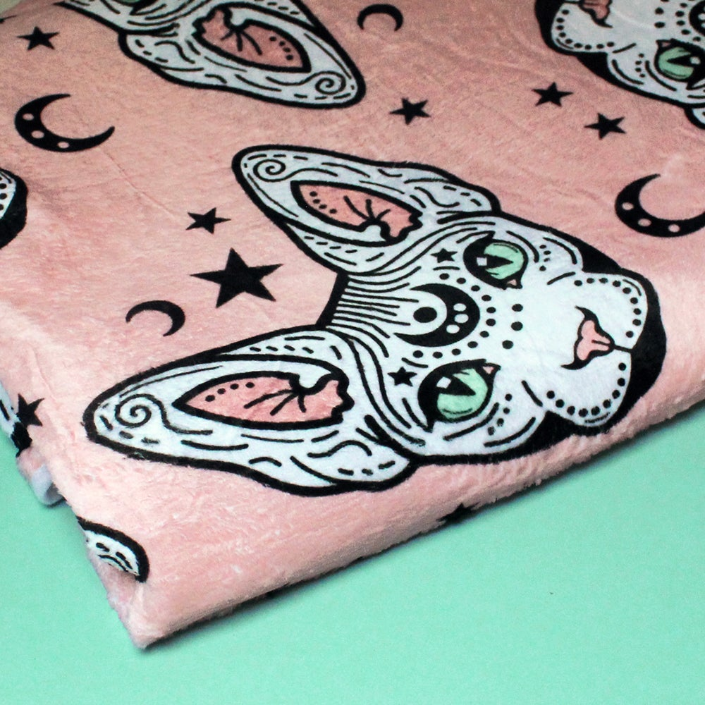 Image of Mystical Sphynx cat blanket - luxury super soft fluffy fleece throw - PINK - printed blanket