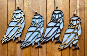 Image of Wood and Vellum Owl Ornament