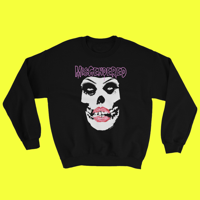 Image of MISGENDERED Black Crew Neck Swetshirt