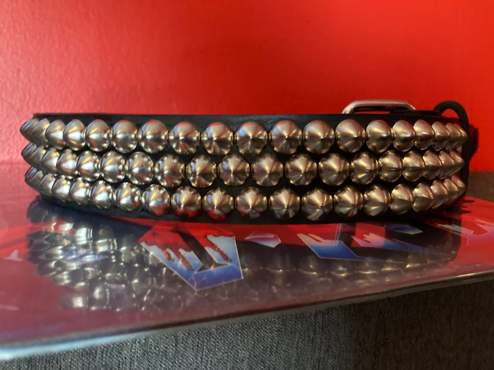 """Image of 3-ROW OFFSET 1/2"""" CONE STUDDED LEATHER BELT"""
