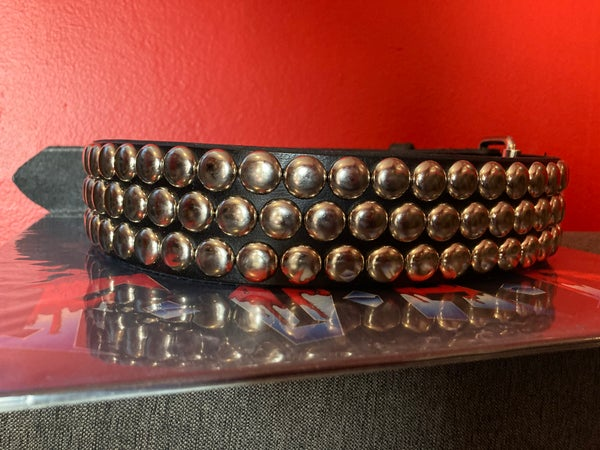"""Image of 3-ROW OFFSET 5/8"""" DOME STUDDED LEATHER BELT"""