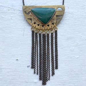Image of statement necklace with adventurine stone