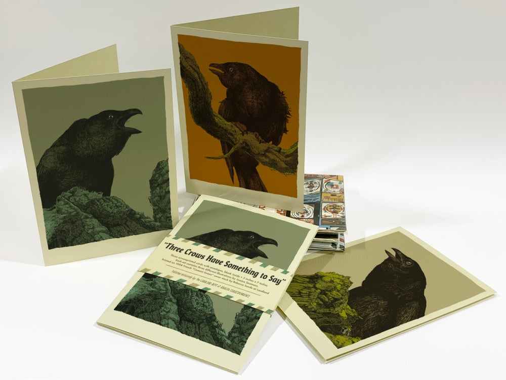 """""""Three Crows Have Something to Say"""" • Set of 3 Screen Printed Blank Cards"""