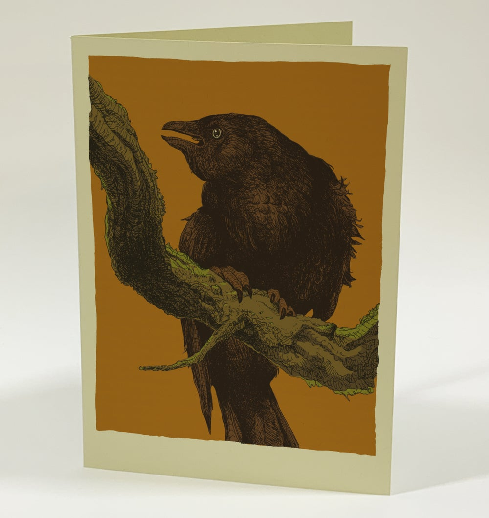 """""""This Crow Has Something to Say 2"""" •  Single Screenprinted Blank Card with Envelope"""