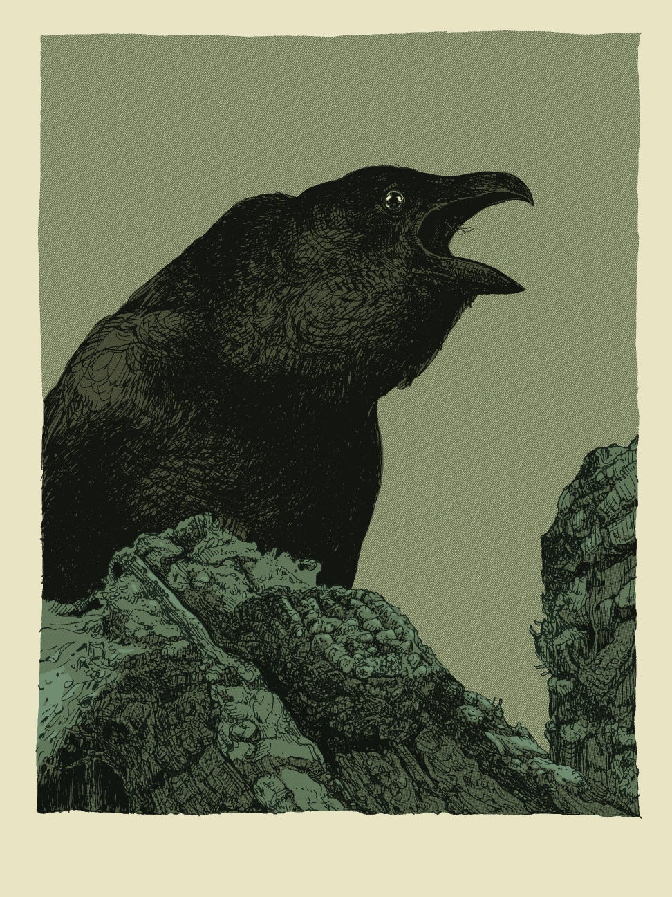 """This Crow Has Something to Say 1"" •  Single Screenprinted Blank Card with Envelope"