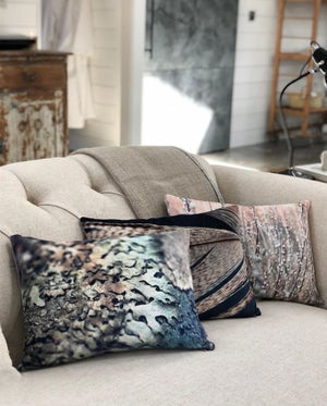 Image of Silver lichen, luxury velvet cushion