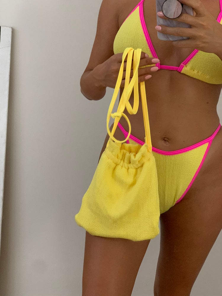 Image of Yellow Crinkle Pouch Bag