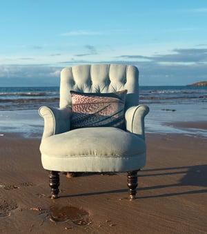 Image of Feather stripe, luxury velvet cushion