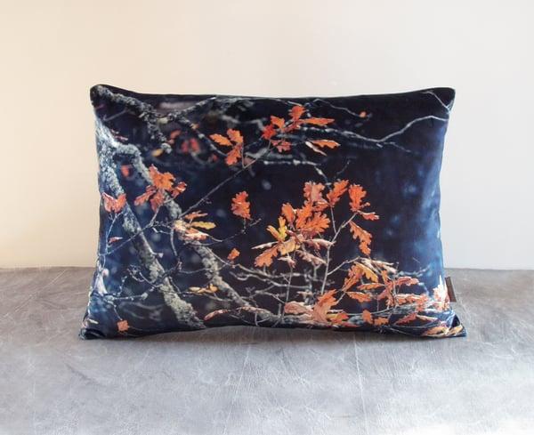 Image of Oak leaf, luxury velvet cushion