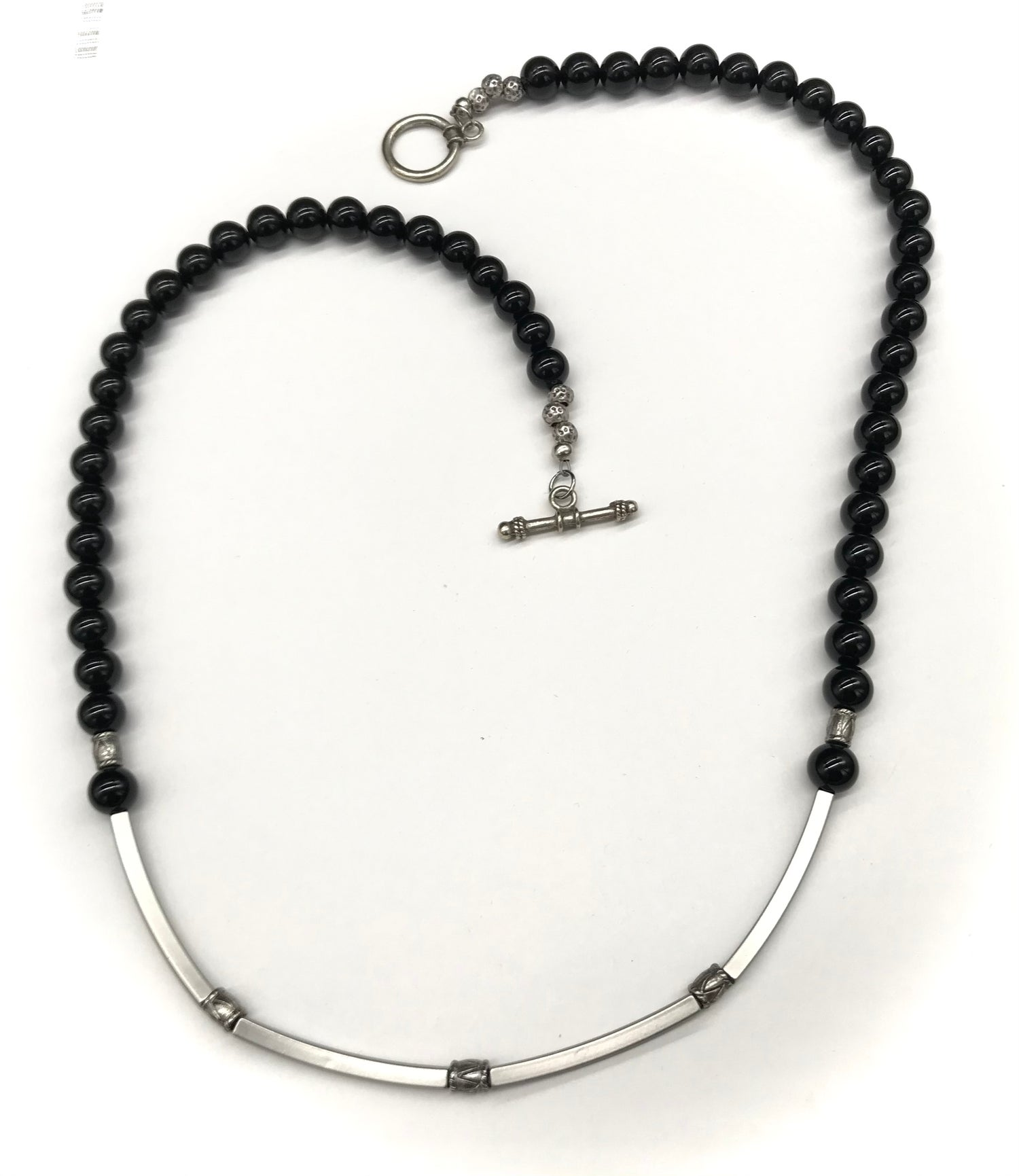 Image of Black Onyx and Square Tubes Necklace