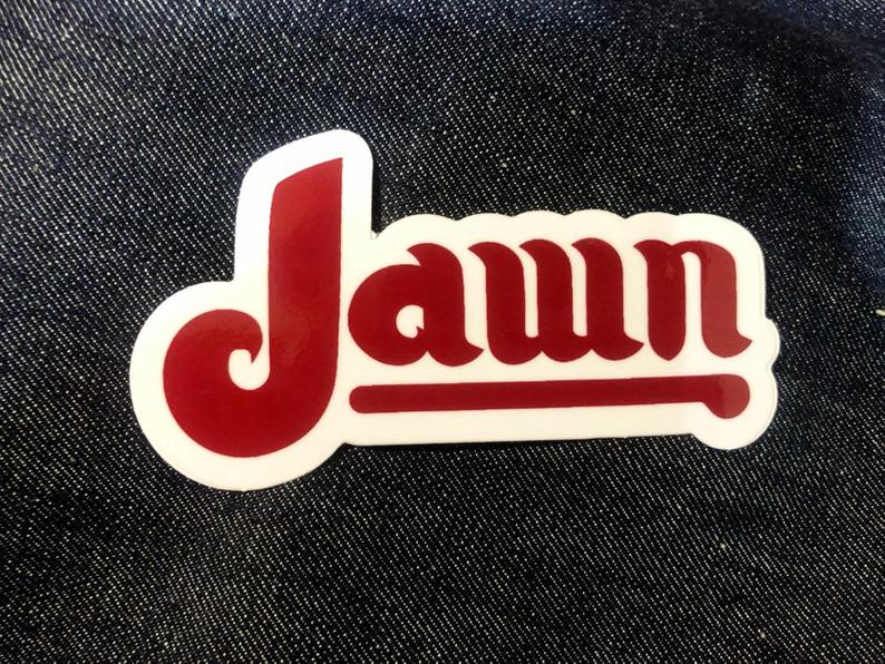 Image of Jawn Philly slang vintage Phillies Parody STICKER! By Dig Threads