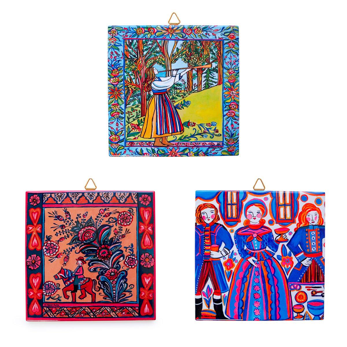 Image of Swedish Ceramic Folk Art Tiles