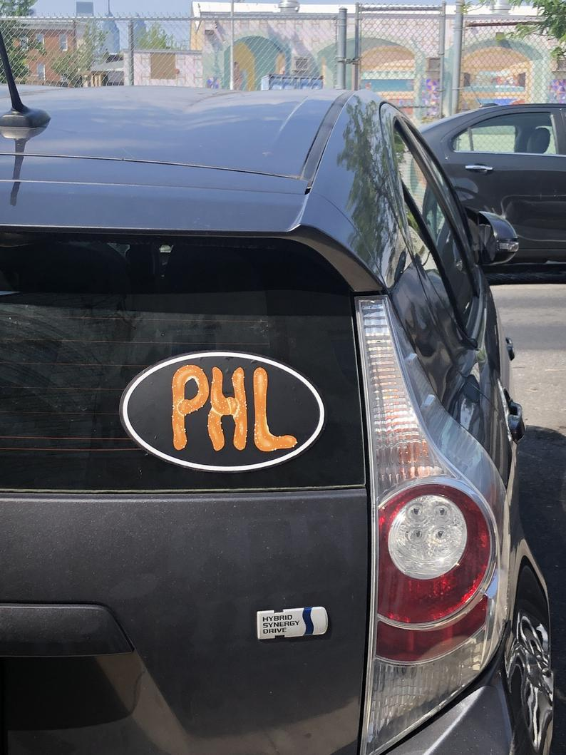 Image of PHL Represent Philly pretzel style STICKER! By Dig Threads
