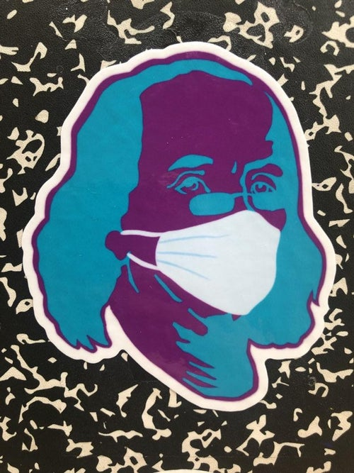 Image of NEW Ben Franklin survives the Pandemic STICKER! By Dig Threads
