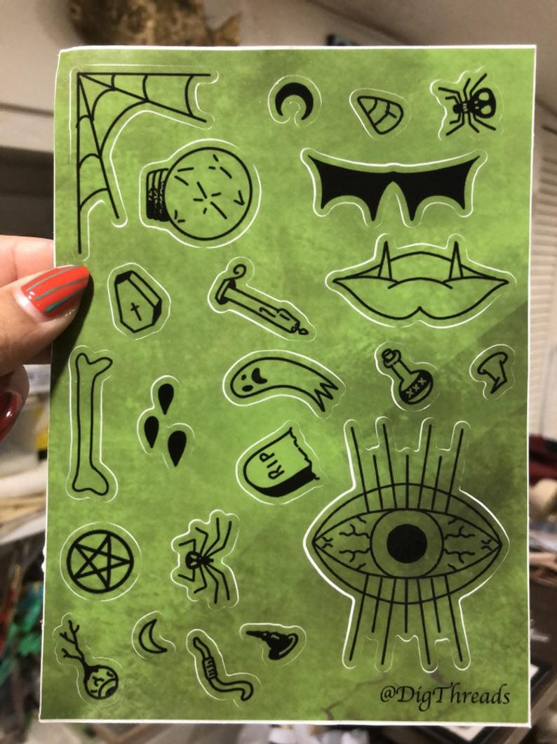 Image of Witch Coven Spooky STICKER SHEET! By Dig Threads