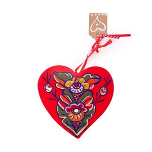 Image of Wooden Hand Painted Swedish Heart Ornaments