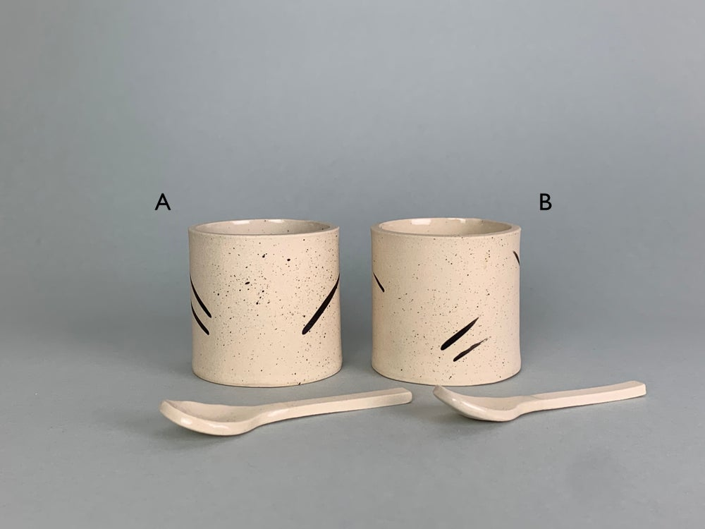 Image of Brushstroke Salt Pot With Ceramic Spoon