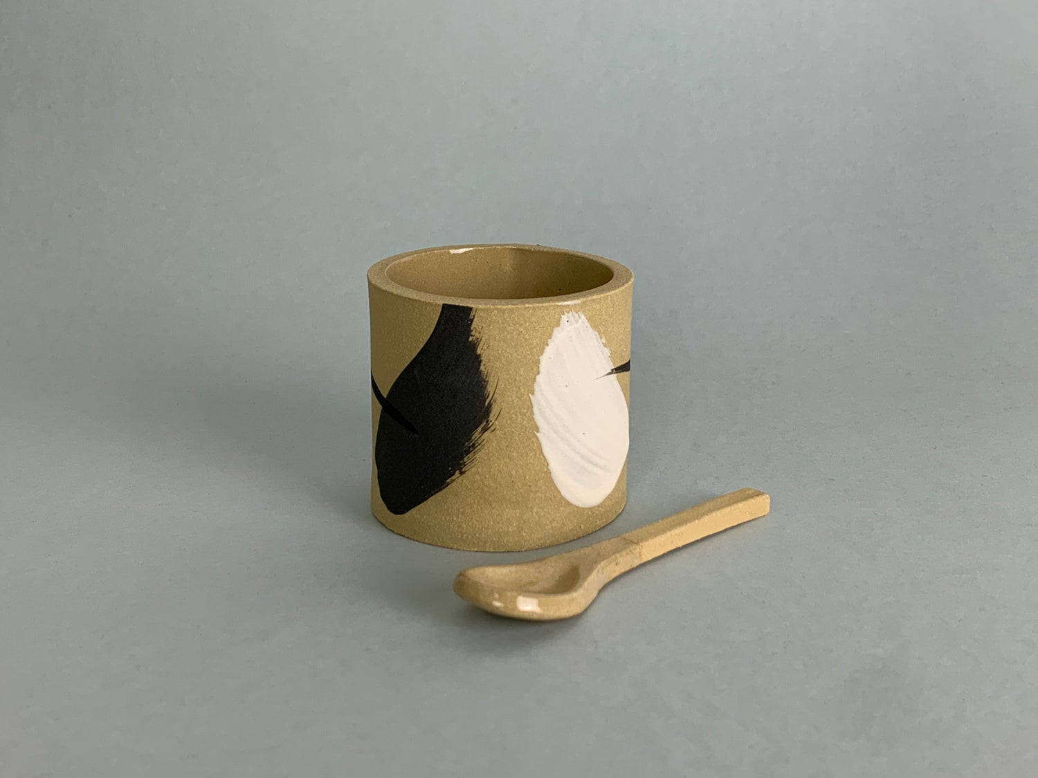 Image of Yellow Brushstroke Salt Pot With Ceramic Spoon