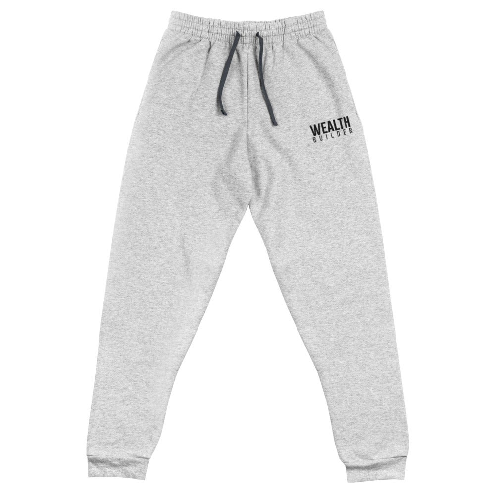 Image of Unisex Wealth Builder Joggers w/ Black Writing